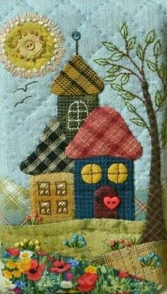 Wool Applique Quilts, Wool Applique Patterns, Felt Applique, House Quilt Patterns, House Quilts, Small Quilts, Mini Quilts, Felted Wool Crafts, Felt Embroidery