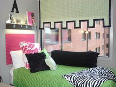"""Pink and Green/College Style, This is my daughter and her roommates first dorm room, Freshman, so wanted it to be a space for them that was both functional and """"fun"""" to live in. Biggest challenges were of course space, as with most dorm rooms, and also color. They wanted to use pink and green which can be a bit """"juvenile"""" looking so also added black and a few modern twists to make it more adult .  , My daughters side (before duvets came in)        , Dorm Rooms Design"""