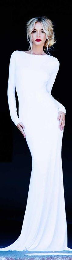 long sleeve white dress - modern wedding inspiration