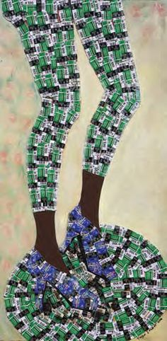 TAIYE IDAHOR (b.1984) UNTITLED (CHANGE OF NAME SERIES) 2012 Mixed media on board 122 x 61 cm. (48 x 24 in.)