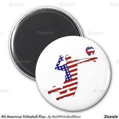 All-American Volleyball Player 2 Inch Round Magnet #Redwhiteanblue1 #Gravityx9 #sports4you
