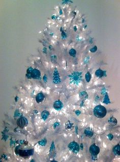 Have yourself a Merry little Christmas! My white & turquoise tree :) * crappy photo taken with phone