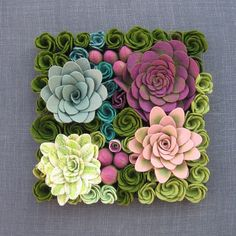 Going to have to try to  DIY this............felt succulent garden delight plants by miasole on Etsy, $138.00: