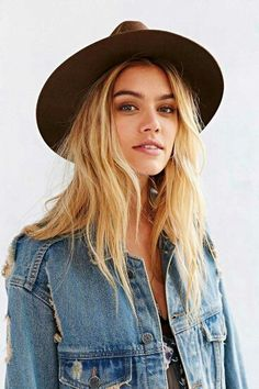 Everyday Boho, quick & easy.  Long waves, a denim jacket with a tank and destroyed jeans, and a great hat to keep the sun's rays off of your face.