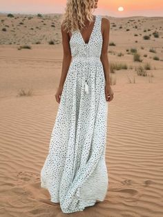 34d16ece3b Women Plus Size White Camouflage V Neck Printed Polka Dots Summer Resort  Maxi Dress#modmiss