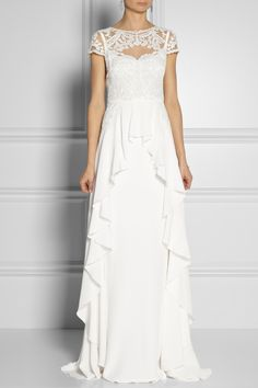 Temperley London Bluebell silk and embroidered lace gown NET-A-PORTER.COM