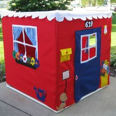 """card table play house. There's a """"castle"""" version down the page that I'm really digging."""
