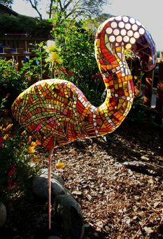 "Flamingo | Kim Larson Cement sculpture with glass mosaic ""skin"". 24"" tall body x 21"" wide x 4 ft tall from ground. Finished 4/6/14."