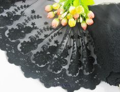 """8.5""""*1yard delicate black embroidered flower tulle lace trim for DIY"""
