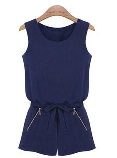 Navy Sleeveless Backless Bowknot Jumpsuit - Sheinside.com