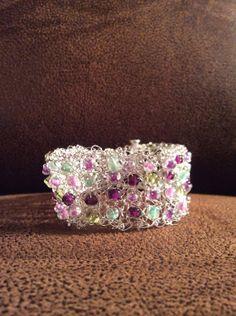 Handmade Wire Crochet Beaded Bracelet.  by RustinHinges on Etsy, $14.88