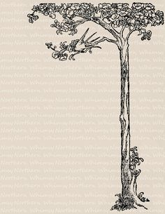 Swallow in a Tree Border Image - 1909 Vintage Clip Art – Printable Transfer Graphic – Digitak Scrapbooking Stamp - instant download - CU OK