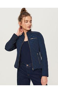 Prošívaná bunda se stojáčkem, Bundy, kabáty, tmavomodrá, RESERVED Quilted Jacket, Denim, Jackets, Fashion, Honey, Moda, Fasion, Fashion Illustrations, Fashion Models