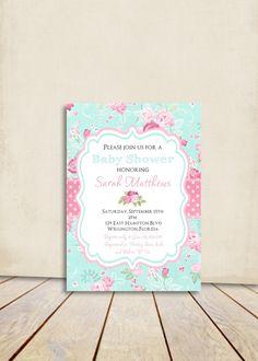 Casa Chic bebé ducha invitación victoriana flores rosa y azul