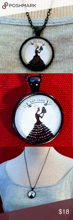 """Strampunk Style """"Eat Cake"""" Fun Black Metal Pendant """"Steampunk Style, possibly old Victorian dressed, lady, with Crazy Pink Hair, dressed all in black, holding a three layer black cake, with the phrase """"Eat Cake"""" above her. This 1"""" glass pendant of the lady holding her big cake,  hangs from an 18"""" black metal chain and fastens with a lobster style clasp.  Part of the new """"Cupcakes for Grown Ups Collection"""" currated by me! Cupcakes For Grown Ups Jewelry Necklaces"""