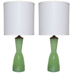 Pair of Green and White Murano Glass Lamps | From a unique collection of antique and modern table lamps at https://www.1stdibs.com/furniture/lighting/table-lamps/