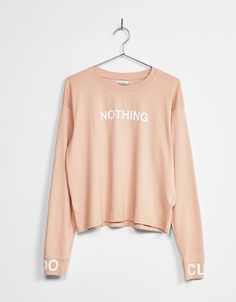 Print top with text detail on sleeves - New - Bershka United Kingdom