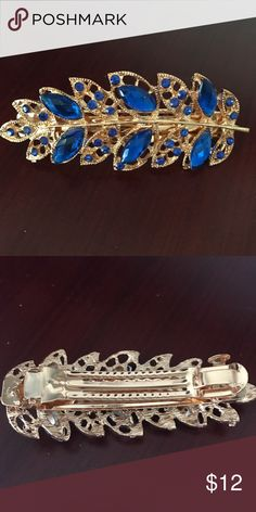 Blue Hair Clip Gold with blue jewels Accessories Hair Accessories