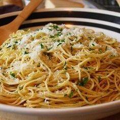 Spaghetti Aglio e Olio - Allrecipes.com. add mushrooms and shrimp for a copy cat Roman Cucina