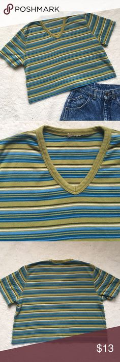 Striped V Neck Vintage Crop Top *Listed AA for exposure* Fun crop top cut from a vintage v neck tee. Has been washed and dried since the alteration. Tag has been cut so not sure of exact size, but would fit an XS/S. Length rom shoulder to hem is a 16.5 in, and arm pit to arm pit is a smudge over 18 in. Colors most accurate in second photo. American Apparel Tops Crop Tops