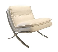 Contemporary armless chair upholstered in a white, top grain leather with stitching on the back and curved legs.