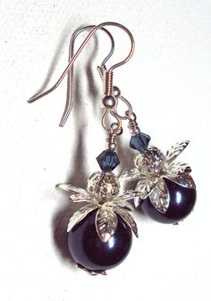 Jewelry Earrings Navy Glass Pearl Swarovski Sparkling Dark Indigo Crystal Silver Plate FREE SHIPPING. $5.95, via Etsy.
