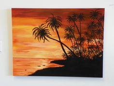 Palms at Sunset 30x40 Acrylic Painting - www.harrisartstudio.com