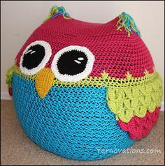 Owl Bean Bag Chair pattern by Yarn Twins