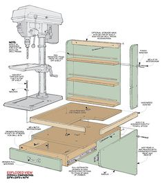 Reclaim the top of your workbench and add some valuable storage space with this handy drill press shelf and storage rack combo. Woodworking Drill Press, Woodworking Shop Layout, Woodworking Projects, Drill Press Stand, Drill Press Table, Drill Press Diy, Small Drill Press, Workshop Storage, Tool Storage