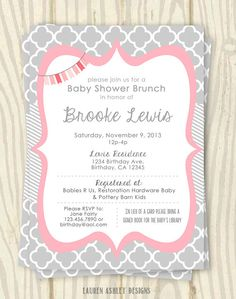 Pink and Grey Baby Shower Invitation - 5x7