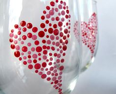 I Heart Valentines Day Decor - Handpainted Wine Glass Set of 2. $24.00, via Etsy.