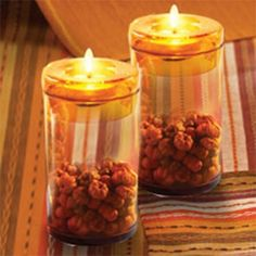 Amber Accents Tealight Towers - $2.99  Handcrafted, amber glass tealight candleholders hold a plethora of possibilities! Remove the lid and fill with potpourri, flower petals, dried seeds, decorative sand and so much more!