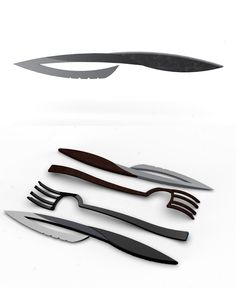 Matching hollow blade knives and forks make up this concept from designer Jeff Pinard. Table Design, Food Design, Creative Design, Modern Design, Aesthetic Design, Kitchen Utensils, Kitchen Knives, Kitchenware, Tableware