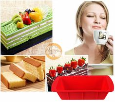 8 inch rectangle Silicone Bread and Loaf Pan Tray Bread Baking Mold BPA Free, Non-Stick Cake Baking Mold