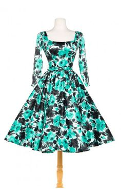 Pinup Couture- Margaret Dress in Mint with Black Roses Satin | Pinup Girl Clothing