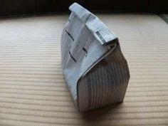 【折り紙折り方】新聞紙 で大きなごみ箱を作ってみました。【 I made a big recycle bin with newspaper】 - YouTube