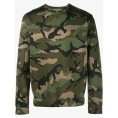 VALENTINO Camouflage Sweatshirt ($900) ❤ liked on Polyvore featuring tops, hoodies, sweatshirts, long sleeve sweatshirt, round neck top, camo sweatshirts, long sleeve tops and green top