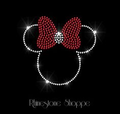 Iron On Rhinestone Transfer Minnie Mouse with Red Bow.