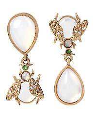 Betsey Johnson Gold-Tone Luminous Betsey Double Drop Earrings