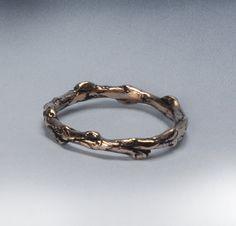Gold Twig Ring, Solid 14 k Gold Wedding Band, Organic Wedding Ring, Nature Ring, 14 karat Yellow Gold or White Gold, Cedar Branch Ring