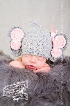 SHUT THE FRONT DOOR!!! I think we need this. Crochet Elephant Hat