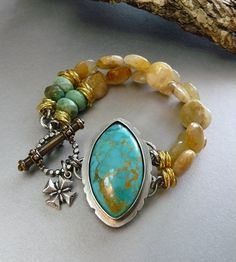 Sale Snake Eyes - Natural Turquose Bracelet set in Sterling Silver - Honey Quartz - Sterling Silver and Gold - Ornate Brass Toggle