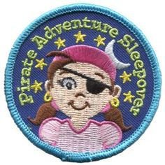 Pirate Adventure Sleepover Girl (Iron On) Embroidered Patch by E-Patches & Crests Girl Scout Patches, Girl Pirates, Pirate Crafts, Pirate Adventure, Iron On Embroidered Patches, Fantasy Fiction, Merit Badge, Fabric Patch, Girl Guides