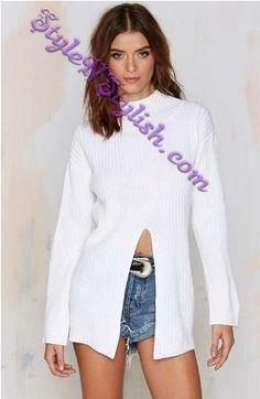 6974cca9ff Nasty Gal One-Slit Wonder Ribbed Turtleneck Sweater - Tops