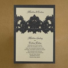 Opulent Filigree Invitation - Onyx with Champagne Shimmer