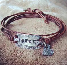 Silver LOVE bracelet with heart charm Hand Stamped Pewter
