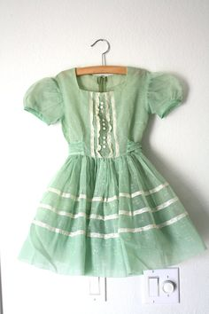 1950's Party Dress Sheer Green with by 1SweetDreamVintage on Etsy, $44.00