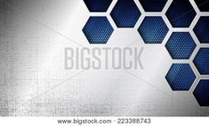 Vector illustration of abstract stainless steel metal panel with grunge overlay metallic texture and hexagonal grid pattern over blue light background for your design Steel Image, Metal Panels, Stainless Steel Metal, Lights Background, Overlays, Grid, Grunge, Metallic, Texture
