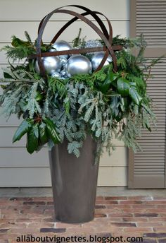 All About Vignettes: Holiday Urns Christmas Urns, Christmas Planters, Outdoor Christmas Decorations, Rustic Christmas, Winter Christmas, Christmas Holidays, Christmas Wreaths, Holiday Decor, Outdoor Decor