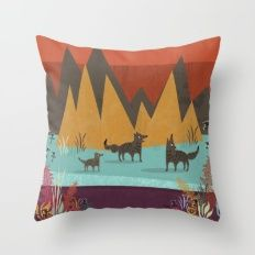 Wolves Throw Pillow by kakel Decor Styles, Bed Pillows, Pillow Cases, Wolf, Art Prints, Illustration, Artwork, Cute, Pattern